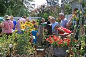 A cage for rearing monarch butterflies attracts attention during a yard tour in Lombard