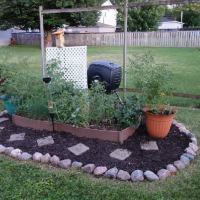 Vegetable garden and compost bin