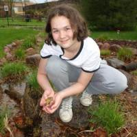 20200428 Becky LeCroy having some fun letting her toad swim in a rain garden filled with a variety of Carex Sedges.